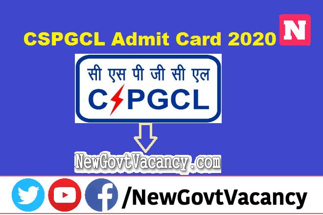 CSPGCL Admit Card 2020