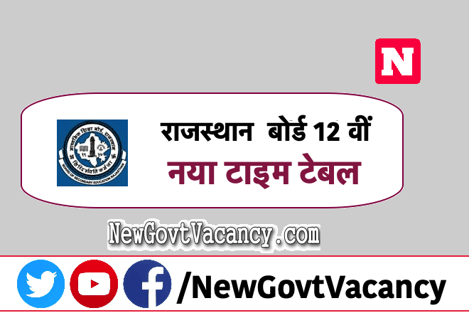 Rajasthan board 12th New Time Table 2020