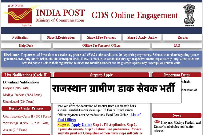 Rajasthan GDS Recruitment Gramin Dak Sevak