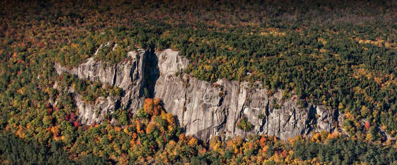 Aerial photo of Cathedral Ledge near North Conway, New Hampshire.