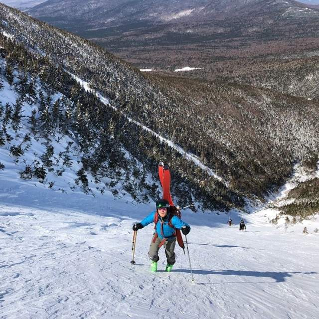 Climbing Monroe Brook in the Presidential Range of New Hampshire for backcountry skiing. Photo by Jim Surette.