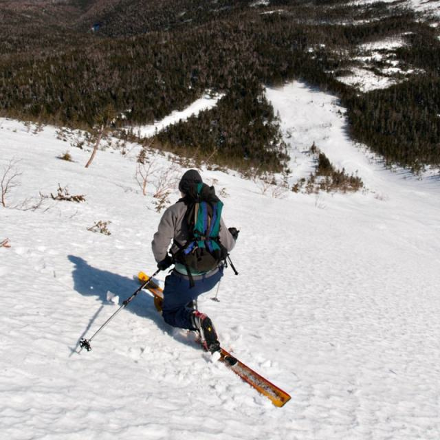 Backcountry skiing in the Gulf of Slides on Mount Washington, New Hampshire.