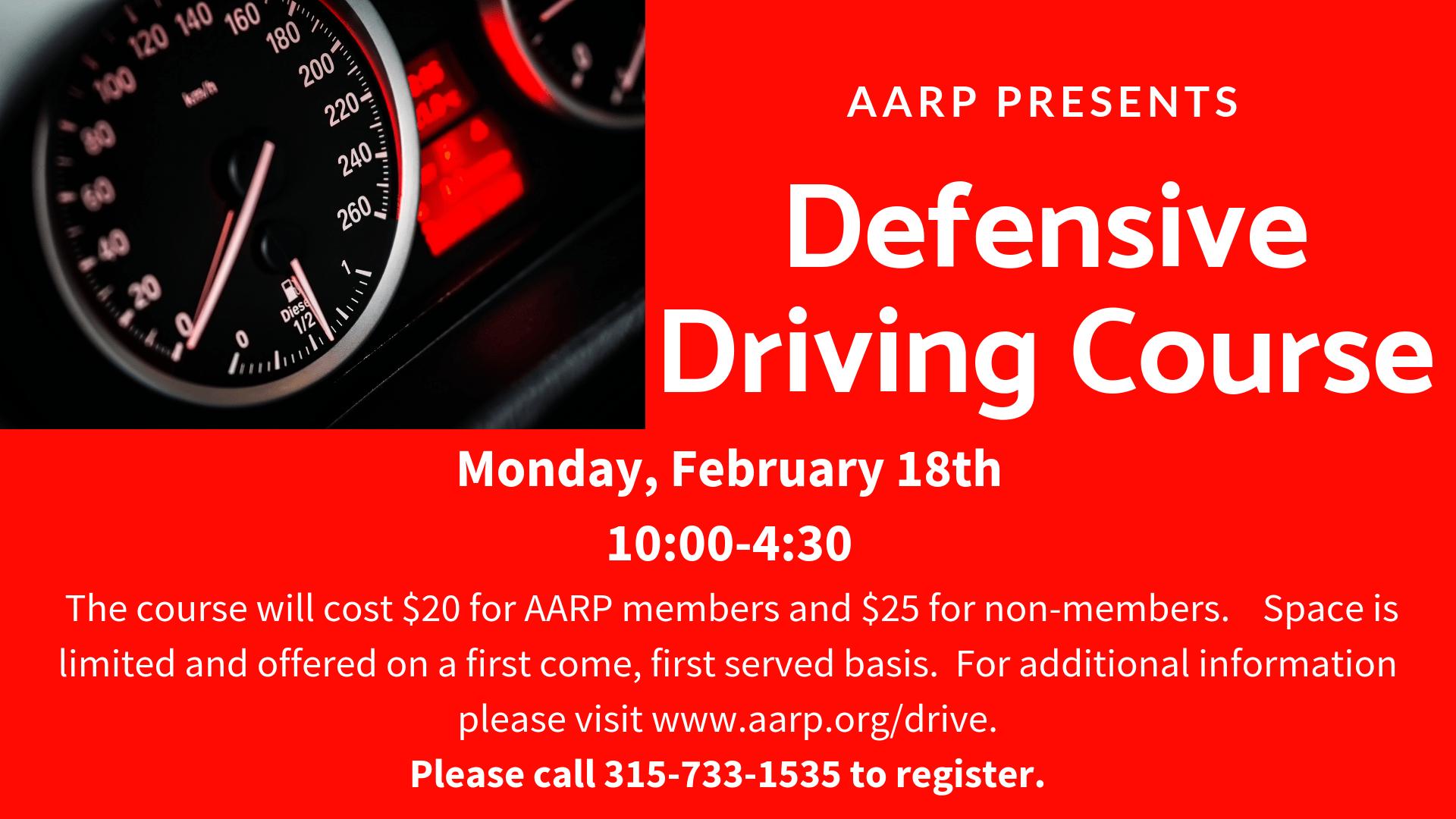 AARP Defensive Driving Course 10:00-4:30 – New Hartford