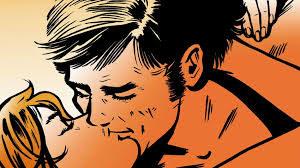 cartoon couple kissing