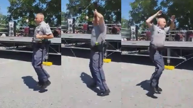 cop jumping rope tricks