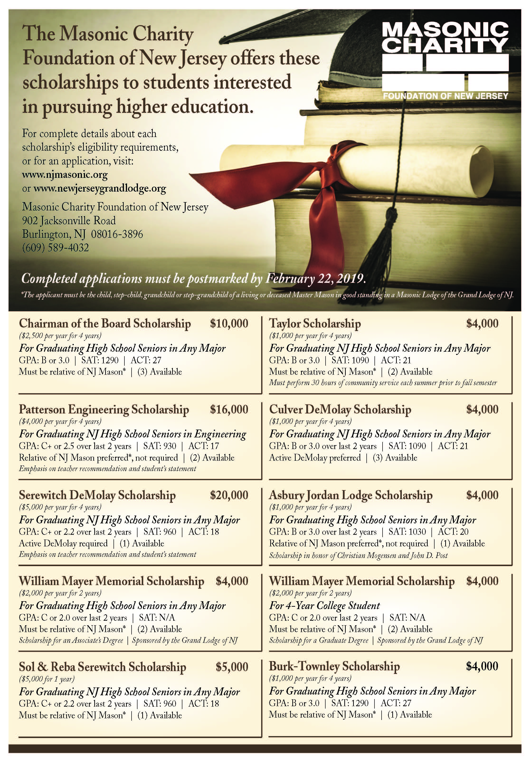 Grand Lodge of New Jersey – Scholarships
