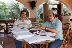 Wagner Moura as Pablo Escobar and Juan Pablo Raba as  Gustavo in the Netflix Original Series NARCOS.  Photo: Daniel Daza/Netflix.