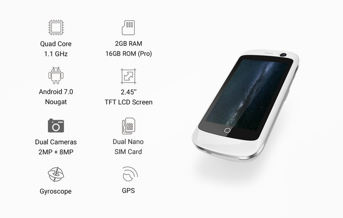Jelly Pro Features. Camera, RAM, ROM, Sim Cards, Front Camera, Screen Size