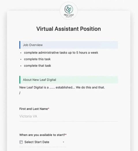 ClickUp Form For Hiring VAs