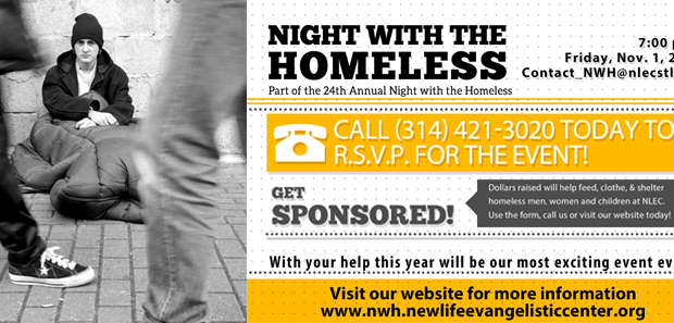 Press Release Announcement 24th Annual Night with the Homeless Friday, November 1, 2013 ST. LOUIS – – Announcing the opportunity for the public to spend a night out with the homeless. The Reverend Larry Rice is inviting the public Friday […]