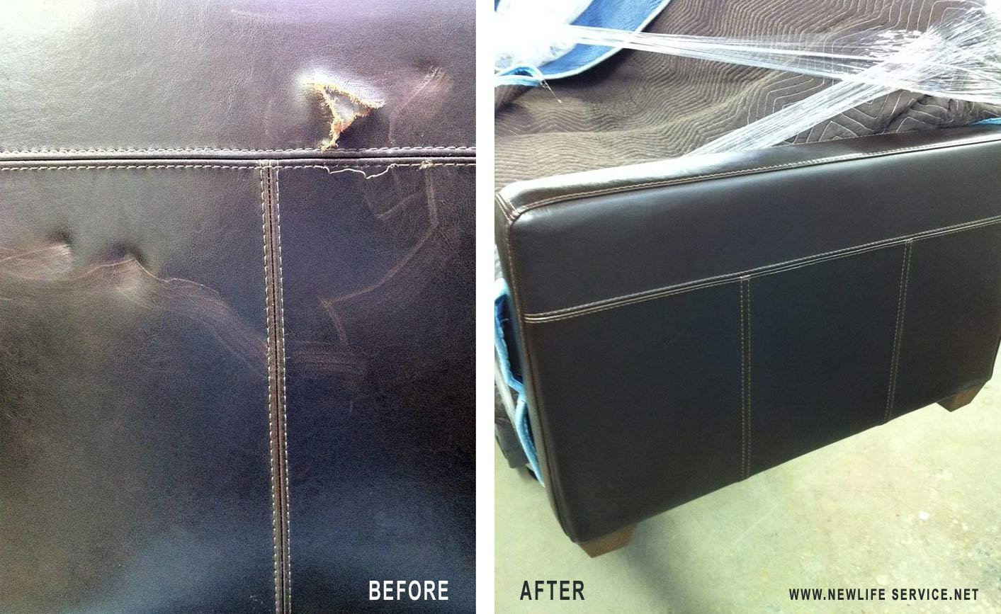 how to repair small hole in leather sofa memory foam seat cushions restored  new life service co of dallas