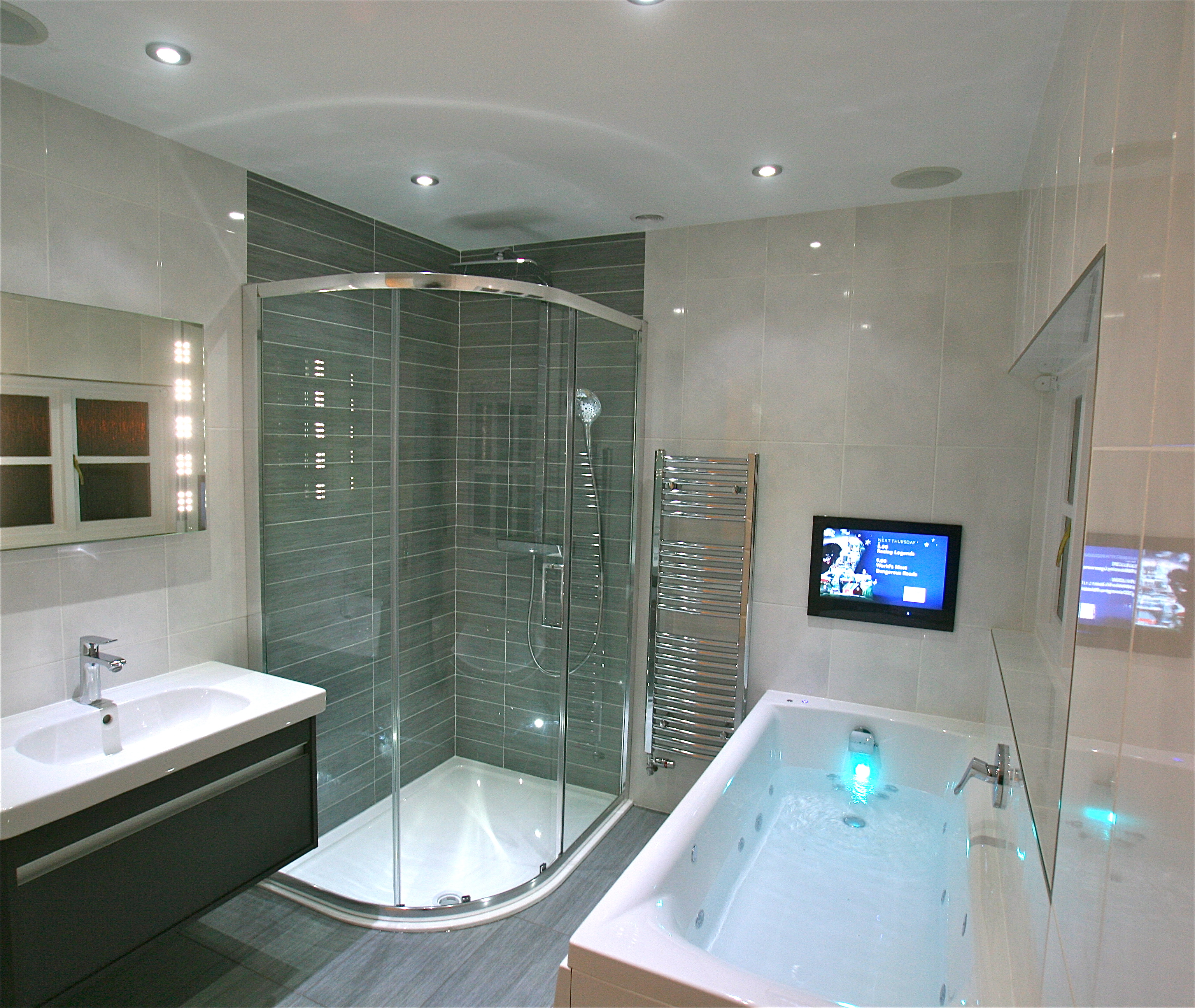Bathroom with TV and Sonos  New Looks Oxon