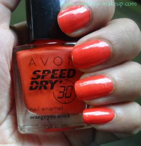 Avon Speed Dry Nail Enamel Orange you Quick Review, NOTD