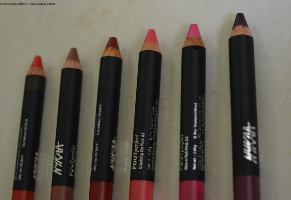 Nykaa Pout Perfect Velvet Matte Lip Pencils Review, Swatches