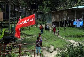 Orang Asli Houses with Harapan flags.