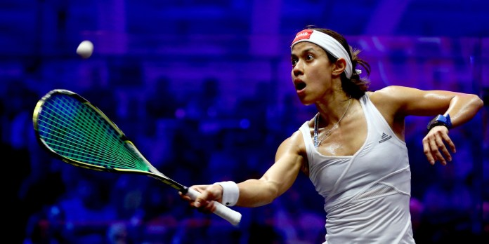 Nicol David of Malaysia compete against Raneem El Welily of Egypt during day four of the PSA Dubai World Series Finals 2016 at Burj Park on May 27, 2016 in Dubai, United Arab Emirates.