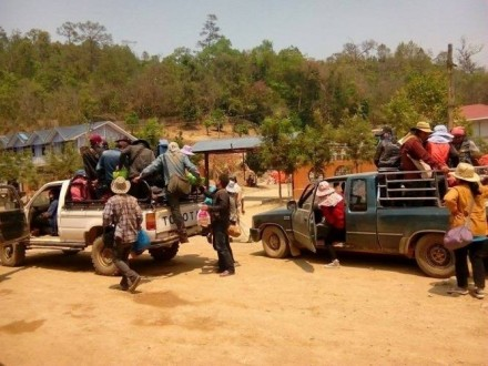 Shan migrants traveling with trucks in Homong. Credit: Mao LanghKur.
