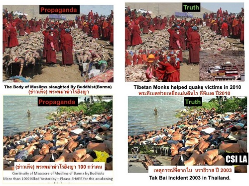 Image claiming that fake images of Burmese Buddhists killing Rohingya have been spread online.