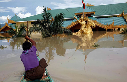 Flooded Kalay in Sagaing Region at its worst. Photo by BBC Burmese.