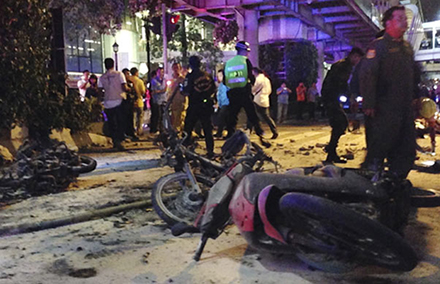 Debris from the blast in Bangkok. Photo by AP.