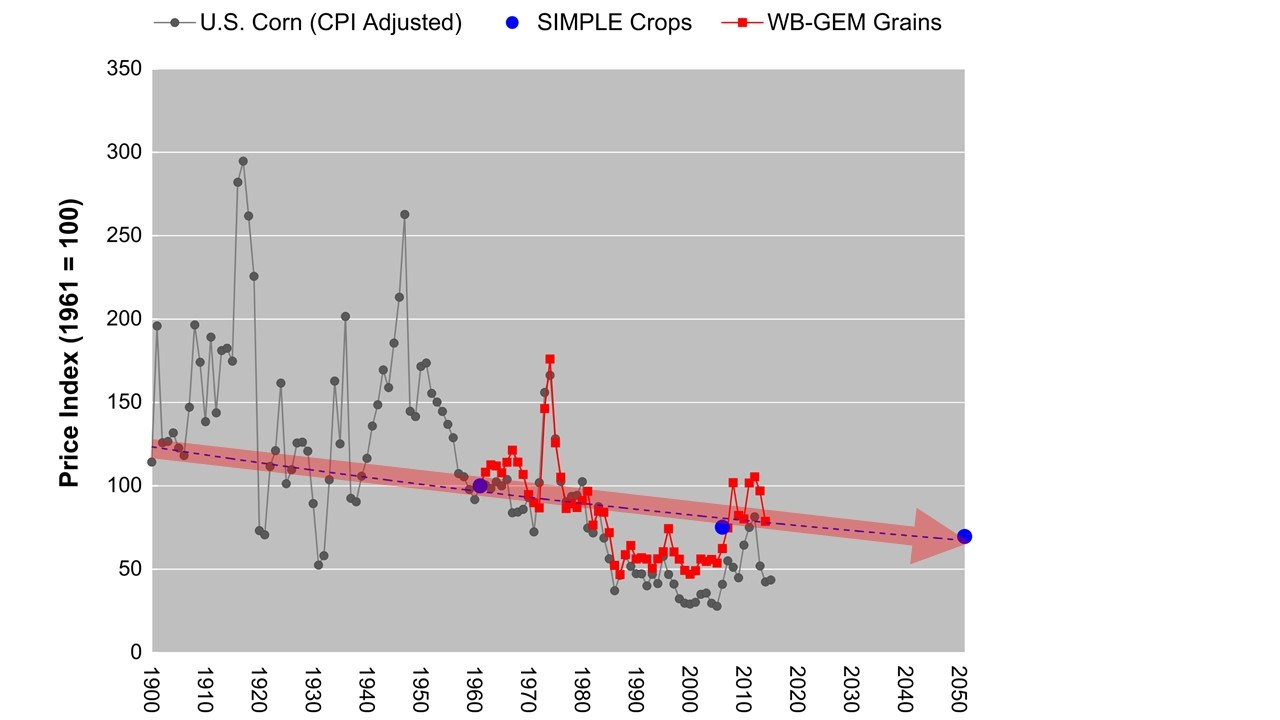 Figure 4: Global commodity grain prices projected through 2050. The trend is more than twice as likely to be down than flat or up.