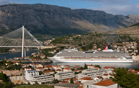 The new Carnival Dream in port in Dubrovnik, Croatia, Oct. 2009. Photo by Andy Newman