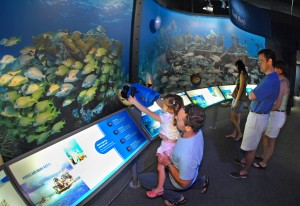 Andy Olday, left, hoists his daughter Emilia, so she can view a video screen on an underwater camera at the Florida Keys Eco-Discovery Center  in Key West, Fla. Through a series of interactive exhibits, the $6 million Eco-Discovery Center showcases the Florida Keys National Marine Sanctuary's environment. Photo by Andy Newman/Florida Keys News Bureau