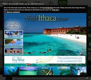 The 'hacked' Visit Ithaca website