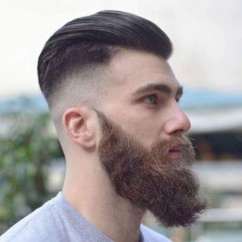Brushed Back Hair + Bushy Beard + Razor Fade