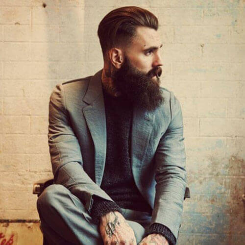 Long Hipster Beard with Slicked Back Undercut