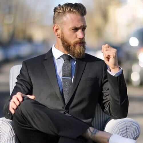 Undercut Comb Over + Long Beard