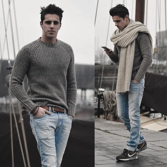 male-winter-outfits-clothing-styles-grey-sweater-with-chunky-cream-scarf
