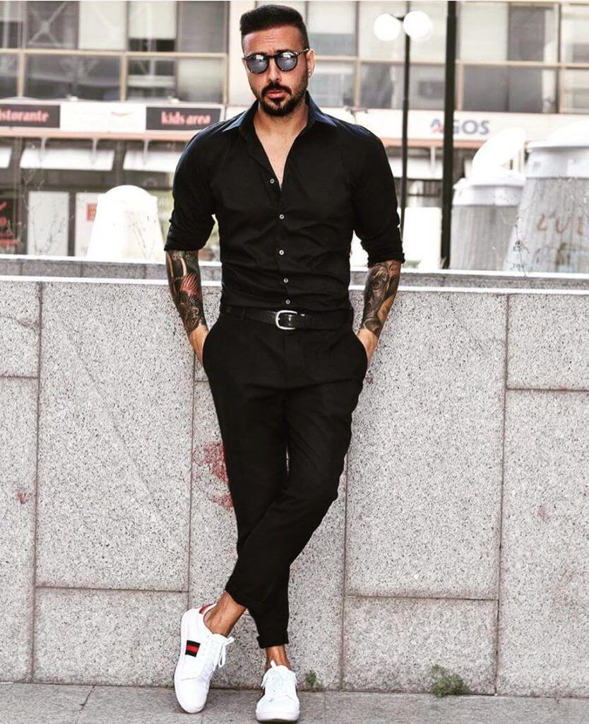 Black Shirt Outfit Ideas for Men 2021-Black Shirt Combination Pants- black shirt matching pants and shoes