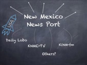 graphic of black board with news port name and partner names