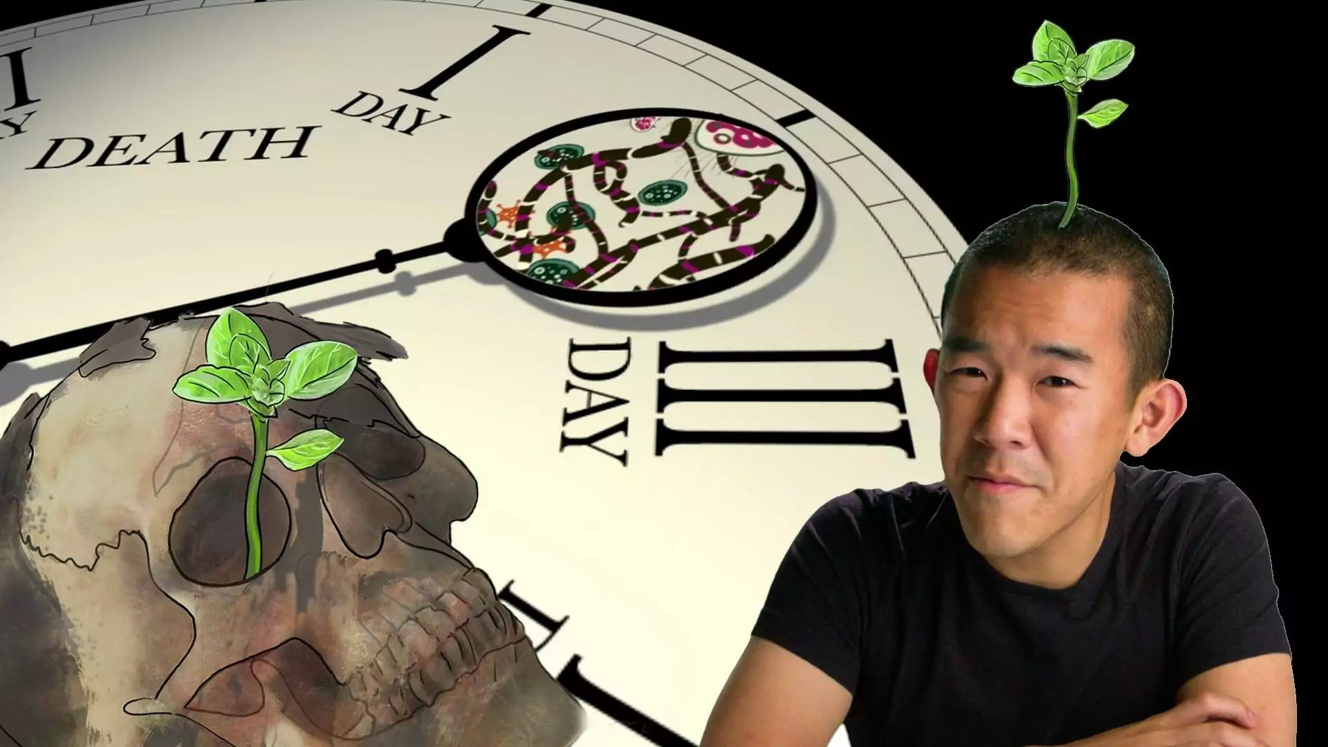 """Composite of a person with a sprout coming from their head, with a backdrop of a clock reading """"DEATH DAY""""."""