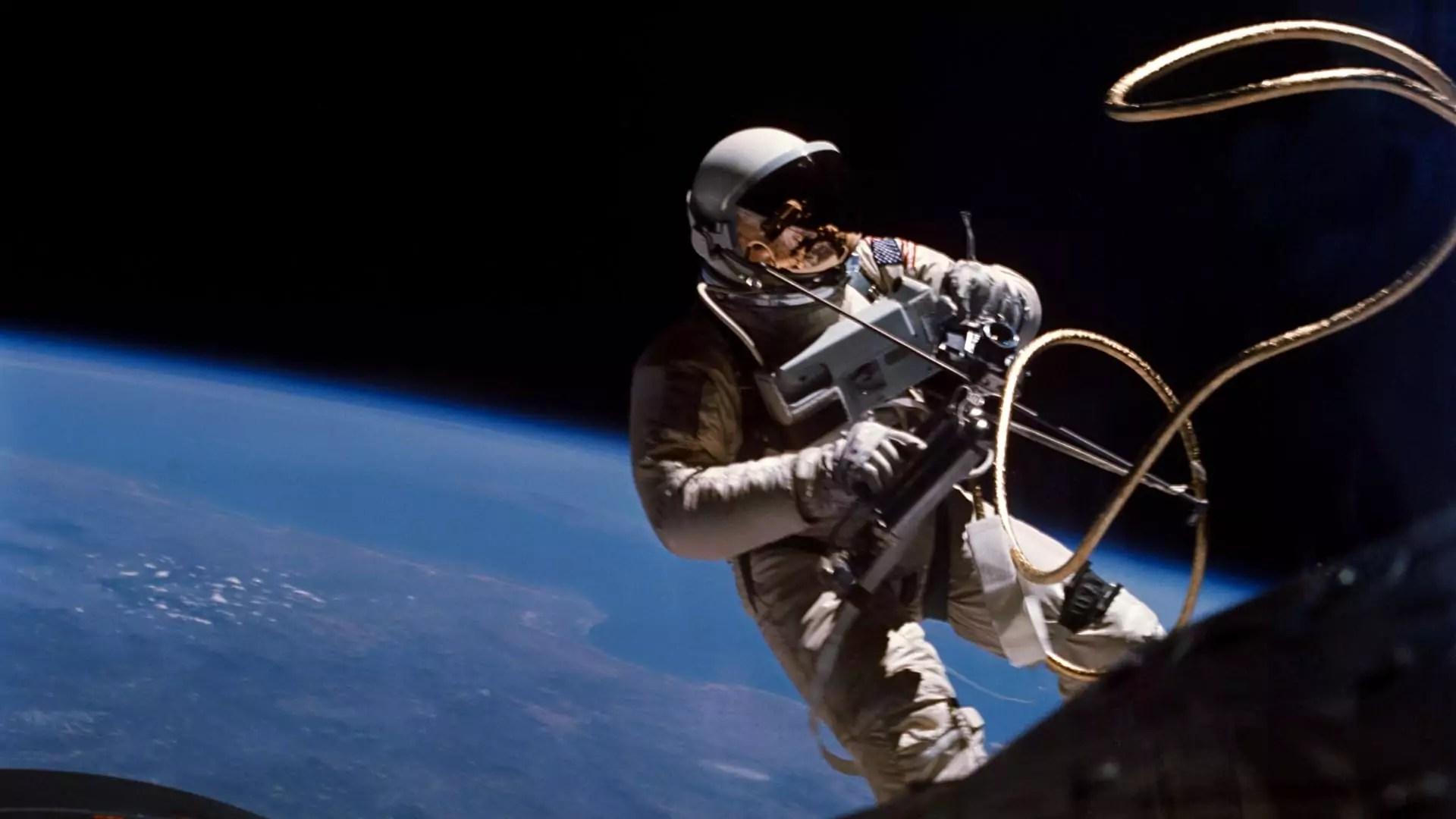 An astronaut performs a spacewalk.