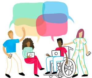 Illustration of four people talking to each other.