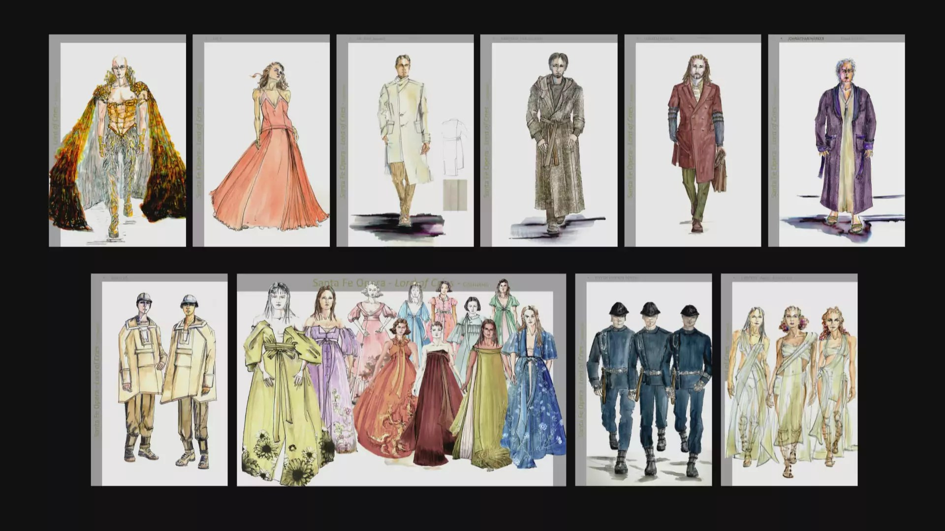 9 sketches of costumes for The Lord of Cries opera characters