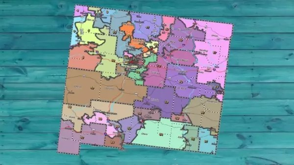 A map of New Mexico with colorful districts.