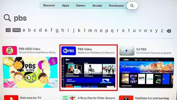Apple TV App Store Search Menu