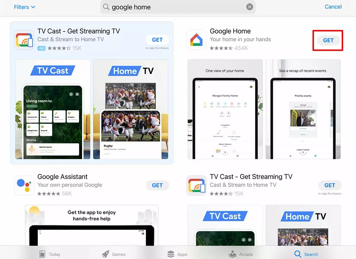 """Search results for """"google home"""" in the App Store"""