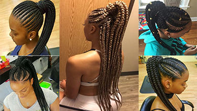 Attractive 8 Feed In Braids Ponytail For Women New Natural