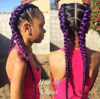 Striking 25 Purple Braids on Dark Skin | Natural Hairstyles