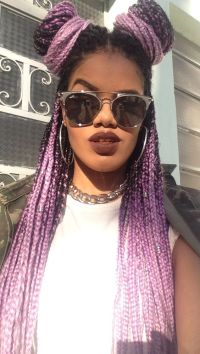Purple and Black Box Braids | Natural Hairstyles