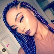 5 blue and black box braids