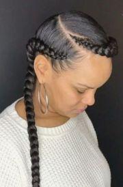 2 goddess braids with weave