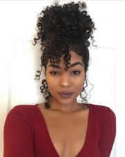 faux bun and curly bang ideas