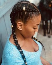 two cornrows with braiding hair