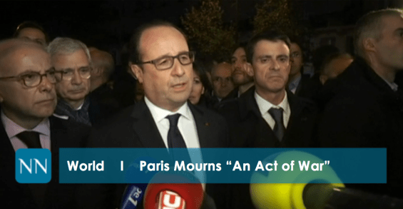 President Francois Hollande - at the scene of the attacks in Central Paris