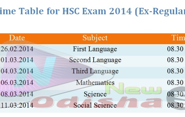 Time Table for HSC 2014 Ex-Regular